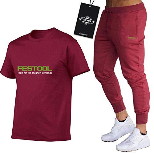 Martin Conjunto de Chándal de Dos Piezas para Fe-st.ool.s Adecuados Mangas Corto a Rayas + Pantalones Largo para Hombre y Mujer C/Vino rojo/L