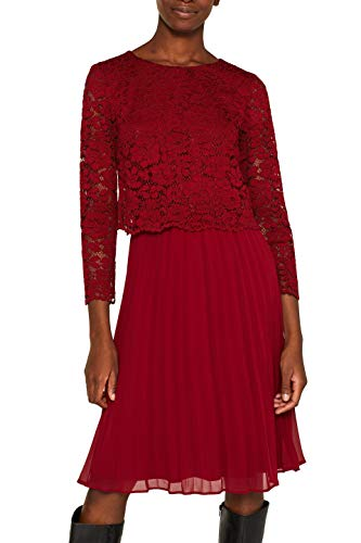 ESPRIT Collection Damen 109Eo1E003 Kleid, Rot (Dark Red 610), (Herstellergröße: 40)
