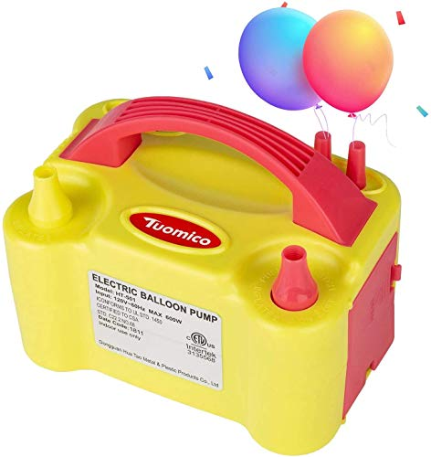 Bomba de globo de aire eléctrica Tuomico con doble boquilla para globos,...