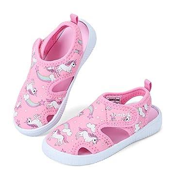tombik Toddler Water Shoes Girls Breathable Walking Sandals for Beach Pool Swim Pink/Unicorn 6 US Toddler