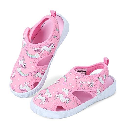 tombik Toddler Water Shoes Girls Breathable Walking Sandals for Beach, Pool, Swim Pink/Unicorn 6 US Toddler