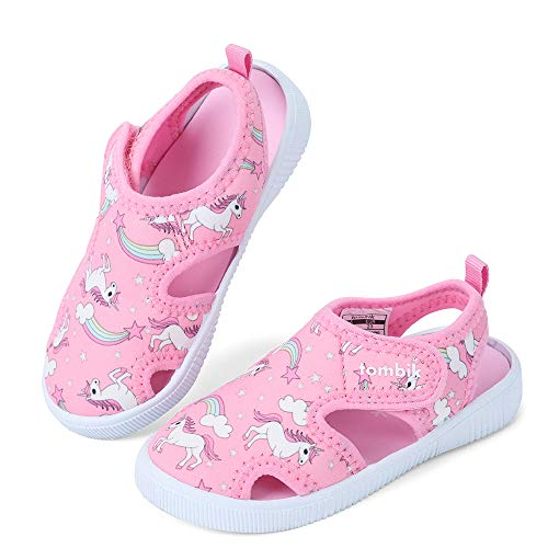 tombik Toddler Water Shoes Girls Breathable Walking Sandals for Beach, Pool, Swim Pink/Unicorn 7 US Toddler