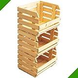 3 Holzkisten stapelbar Stiegen Obststiege Obstkiste Lagerkiste Lagerstiege Unbehandelt aus Holz Kartoffelstiege Gemüsebox Obstbehälter 84 x 36 x 30 cm