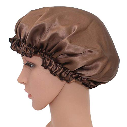 WJH Sleeping Naturel Soie de mûrier Bonnet de Nuit Bonnet Chapeau Head Couverture pour Beauty Hair avec Bande élastique pour Cheveux Perte de Sommeil Protection des Cheveux (2 pièces),Marron