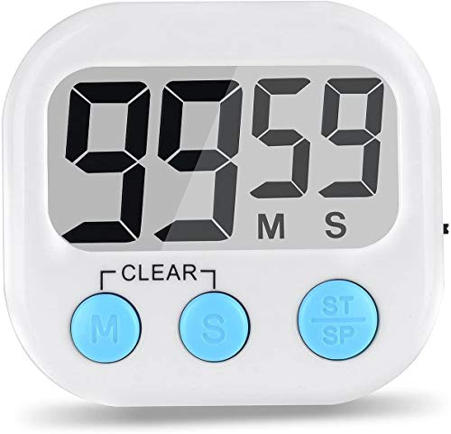 Herfair Temporizador de cocina digital con temporizador de cuenta atrás magnético, pantalla LCD grande, alarma (blanco)