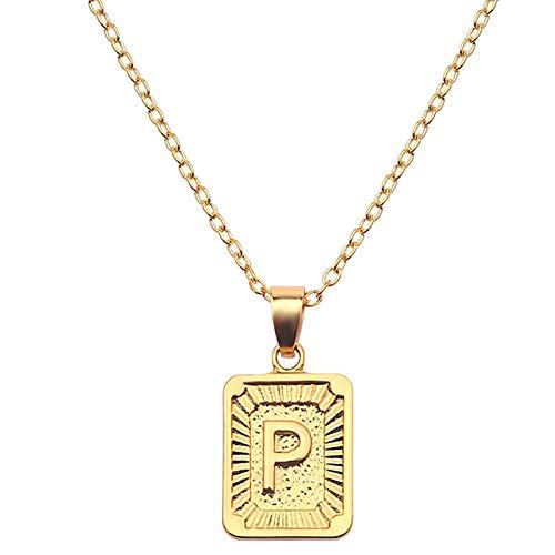 Hunpta - Collar para mujer, diseño de placa rectangular con 26 letras del alfabeto con colgante de clavícula, collar de gargantilla, joyería de boda, regalo de cumpleaños
