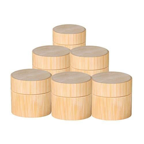 Bambou naturel Bouteille Rechargeables 5/10/15/20 30 / Cosmétique 50 ml Jar Boîte de maquillage crème de stockage Pot ronde Bouteille Portable Container (Size : 15ml)