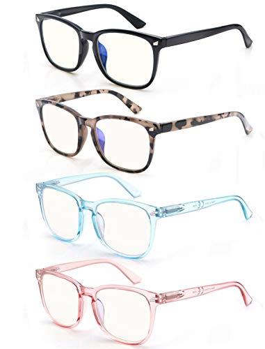 Womens Reading Glasses Blue Light Blocking Readers 0.75 for Women 4 Pack Anti Glare Reduce Eyestrain Protect Eyes