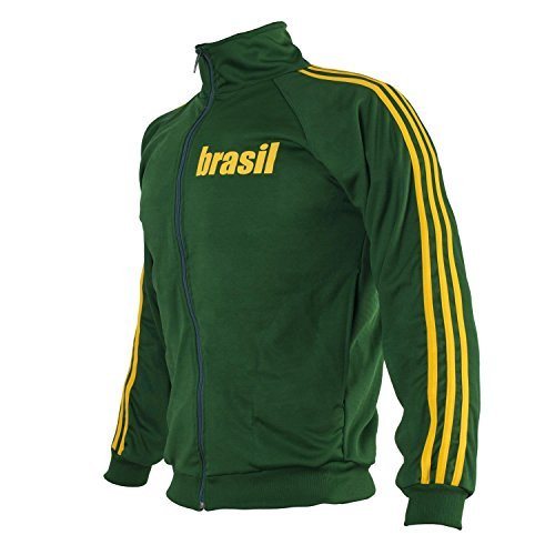 JL Sport Brasile Verde Capoeira con Zip Giacca Brasile Tuta Maglione Uomo Top rétro Design - Large