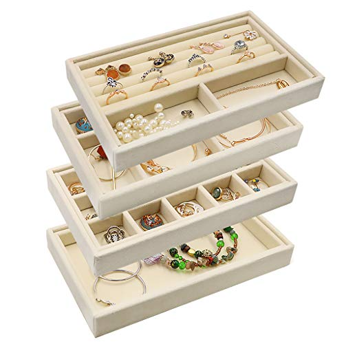 Velvet Jewelry Organizer Tray Stackable 831 Jewelry Storage Inserts Earring Holder Ring Box Necklace Case for StorageDisplay Bracelet Brooch Watch Trays Set of 4 Beige
