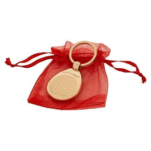 harmonei Schlüsselanhänger vergoldet - Blume des Lebens - 5 G Protect - für Damen und Herren - Flower of Life - 5 x 3,3 cm - Anhänger - Lebensblume Schmuck - aus hochwertigen Edelstahl