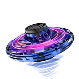 FlyNova Flying Spinner, Hand Operated Drones, Mini Hand Controlled Drone Shining LED Lights, Flying Ball Toys for Boys and Girls (light blue)