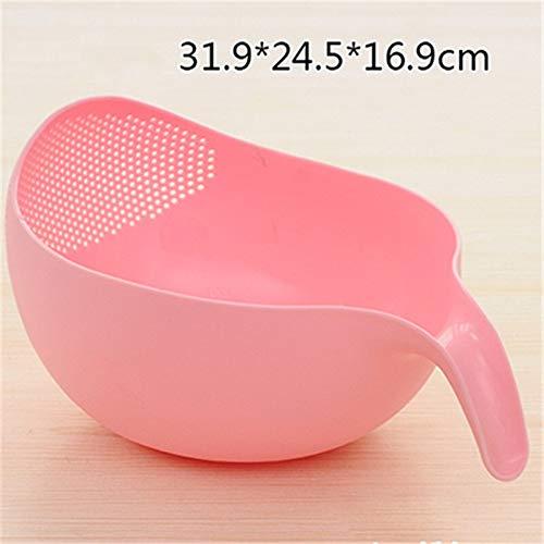 Kitchen Rice Bowl Plastic Fruit Bowl Dik Drain Mand met handvat wasmand for Home Kitchen Supplies KT718914 (Color : Pink L)
