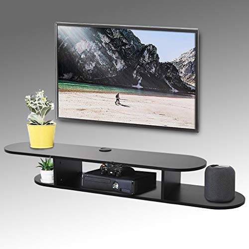 Floating TV Shelf Wall Mounted Media Console, Wall-Mounted TV Shelf, Router DVD Shelves, for Xbox One/PS4/Cable Box/DVD Players/Game Console Streaming Media Equipment (Round Corner)