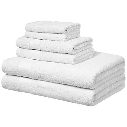 Amazon Basics - Handtücher für den Alltag - 2 Badetücher, 2 Handtücher und 2 Waschlappen, Weiß