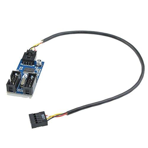 Cable Divisor de extensión de 9 Pines USB Macho 1 a 2 Hembra, Adaptador de Conector 9P