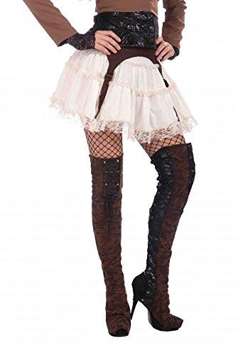 shoperama Braune Overknee Damen-Stiefelstulpen für Piraten-Kostüme und Steampunk-Outfits