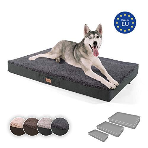 brunolie Balu extra großes Hundebett in Dunkelgrau, waschbar, orthopädisch und rutschfest, kuscheliges Hundekissen mit atmungsaktivem Memory-Schaum, Größe XL (120 x 72 x 10 cm)