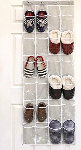 Avril Tian Över dörren skoorganiserare, skoställ hopfällbara garderober förvaringsväska hängande skohållare med 24 fickor för garderobssovrum, grå