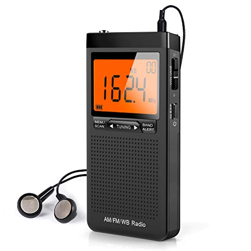 NOAA Weather Alert Radio, Portable AM/FM Battery Operated Transistor Radio with Headphone Jack, Best Reception, Digital Clock, LCD Display, Pocket Radio for Office, Bedroom, Running, Walking
