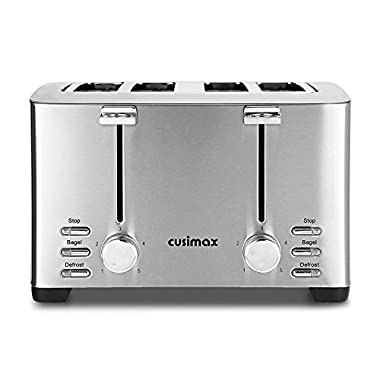 Cusimax 4-Slice Toaster with Bagel Function - 5 Shade Settings Countertop Toaster for Muffins - Waffles - Bagels - Bread - CMST-T150 - Stainless Steel - 1500W