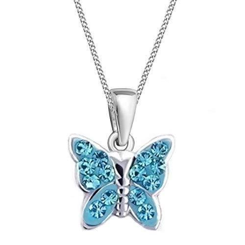 GH* KIDS Blau Kristall Schmetterling ANHÄNGER mit KETTE 925 Echt Silber Mädchen Baby Kinder SET (45)