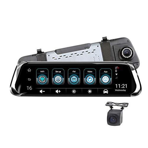 Grabadora de conducción de 10 pulgadas, espejo retrovisor de alta definición de doble lente 4G, WIFI se puede conectar a teléfonos móviles, grabadora de conducción con pantalla táctil inteligente mult