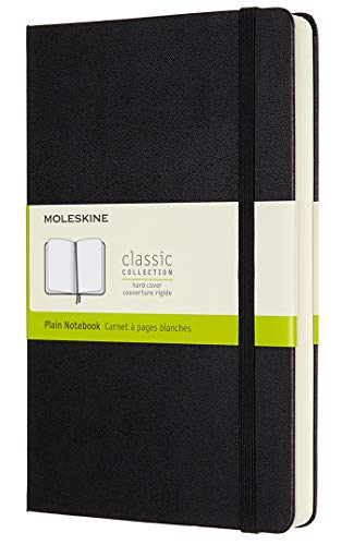 "Moleskine Classic Expanded Notebook, Hard Cover, Large (5"" x 8.25"") Plain/Blank, Black, 400 Pages"