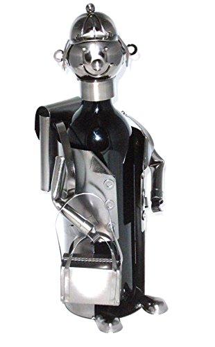 Flaschenhalter Metall - Tourist - Größe B=18cm H=22,5 T=15cm - Dekorativer Flaschenhalter für den passenden Anlass