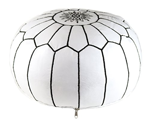GRAN White Handmade Leather Moroccan Pouf Footstool Ottoman   Genuine Leather with Hand Embroidered Black Stitching   Unstuffed