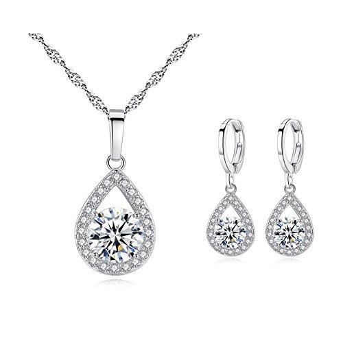 YSOUL Zirconia Dangle Earrings Necklace Jewelry Set Wedding Prom