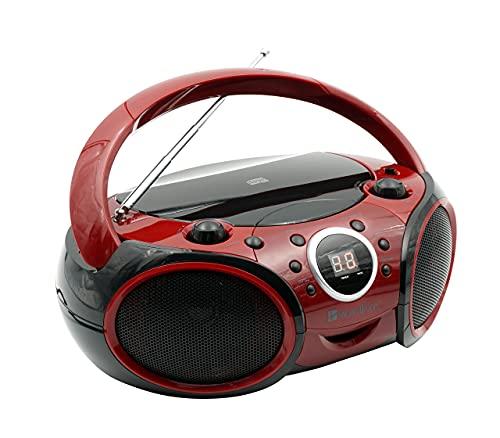 SINGING WOOD CD, CD-R/RW Player Portable/w Bluetooth Analog Tuning AM/FM Radio Aux Input, Headset Jack, Foldable Carrying Handle (Firemist Red) (Renewed)