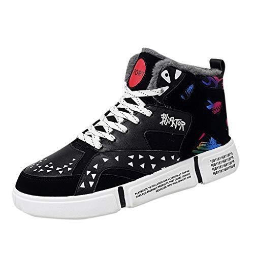 Gaowen Women Men Soft Leather Waterproof Sneakers Couple Plus Velvet Comfortable Casual Running Shoes (Black, 6)