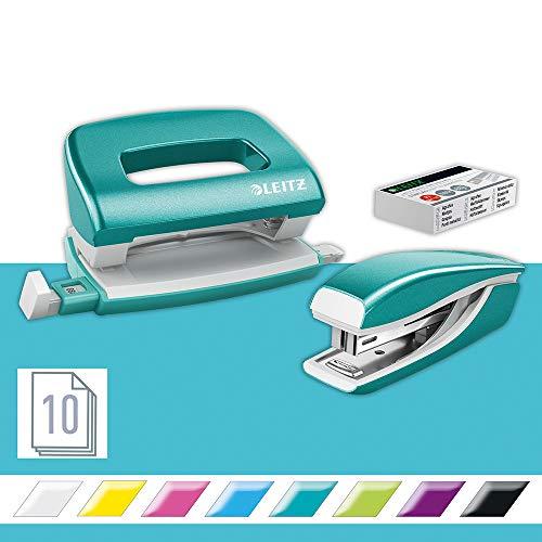 Leitz 55996051 Mini-Heftgerät-und Locher-Set (für bis zu 10 Blatt, Inkl. Heftklammern, WOW) metallic eisblau
