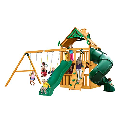 Gorilla Playsets 01-0033-AP Mountaineer Clubhouse Wood Swing Set with Tube Slide, Rock Wall, and Wood Roof, Amber
