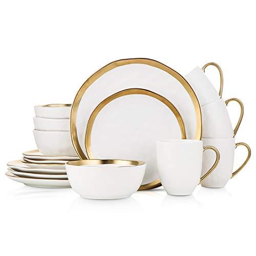 Stone Lain Gold Halo Porcelain Dinnerware Set, Service For 4, White