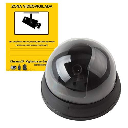 alarmaszoom Camara SIMULADA Seguridad IP Falsa Fake DE Imitacion con Pegatina Zona VIGILADA Regalo DISUASORIA. VIGILANCIA. NO Real. con LED Seguridad ECONOMICA
