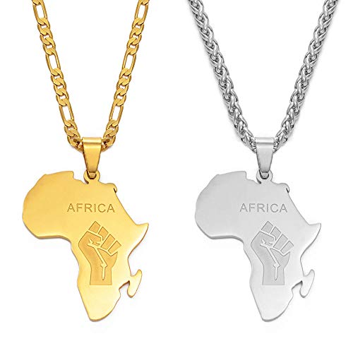 Mapa de África Símbolo del puño Collares pendientes Color plateado / Color dorado Mapas de África Negro Vida de la materia Cadenas Joyas - Oro__45cm_