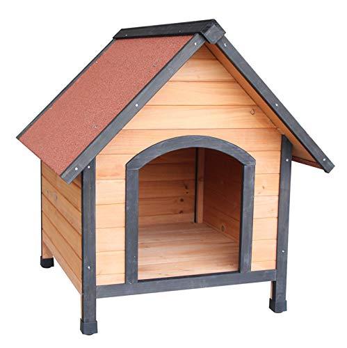 DOLMER Efficient & Durable Pet Barn, Wooden Pet Shelter Dog House Kennel Home, Weather-Resistant & Waterproof, Orange & Red
