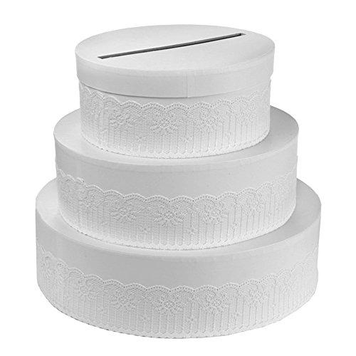 Gift Box Wedding Cake 27 x 30 Porta Buste Wedding Card Regali Matrimonio Bianco Torta Sposi