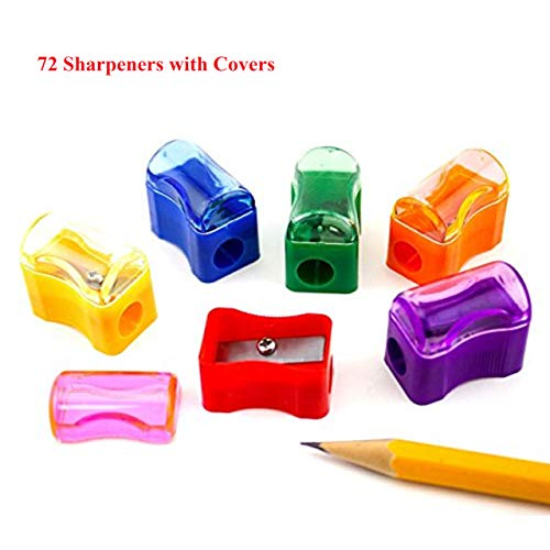 Tytroy Bulk 72 Pieces Assorted Color Miniature Plastic Pencil Sharpeners with Covers for School and Classroom Supplies
