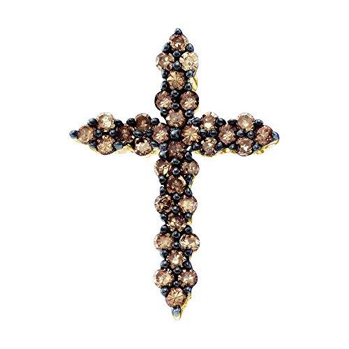 Brandy Diamond Chocolate Brown 10k Yellow Gold Gorious Cross Necklace Pendant 1/2 Ctw.