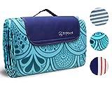 ZOMAKE Manta de Picnic Impermeable y Plegable 200 x 200cm, Familiares Manta para Conciertos, Camping, Playa, Parque(Azul 200x200cm)