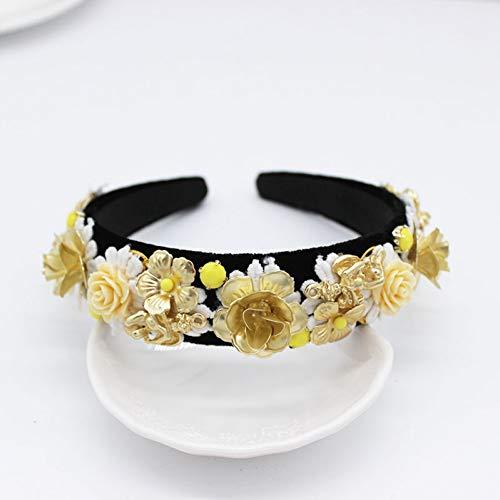 JINGMO Accessoires De Cheveux Vintage Baroque Perle Cristal Bandeau Strass Bande De Cheveux Floral Bandeau pour Les Femmes Coiffure
