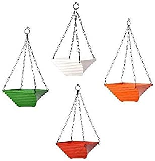 MB Traders Gardening Hanging Pots | Twister Hanging Planter (Multicolor, 9 Inch, Set of 4)
