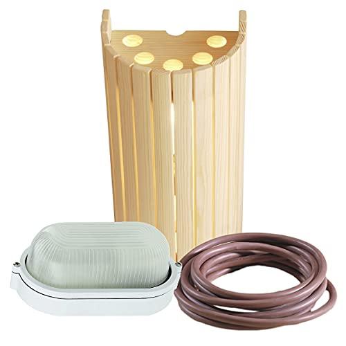 WelaSol® Lampenset Lampenschirm 914, Saunalampe, 3 m Silikonkabel