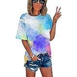 SLYZ Señoras Verano Moda Personalidad Tie-Dye Impresión Digital Señoras Camiseta Deportiva Verano Transpirable Cuello Redondo Manga Corta