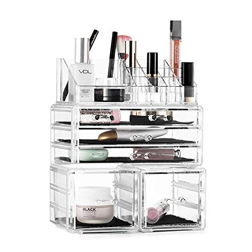 Tebery Acrylic Makeup Organizer 3 Pieces Cosmetic Storage Drawers Lipstick Makeup Brush Display Case Container Detachable 6 Drawers 22 Grids/Compartments Sections