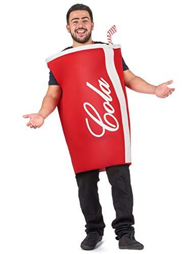 KULTFAKTOR GmbH Lustiges Cola-Becher Kostüm für Erwachsene rot-Weiss M