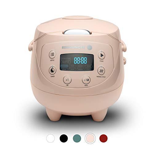 Digitaler Reishunger Mini Reiskocher (0,6l/350W/220V) Multikocher mit 8 Programmen, 7-Phasen-Technologie, Premium-Innentopf, Timer- und Warmhaltefunktion – Reis für bis zu 3 Personen (Rosa)